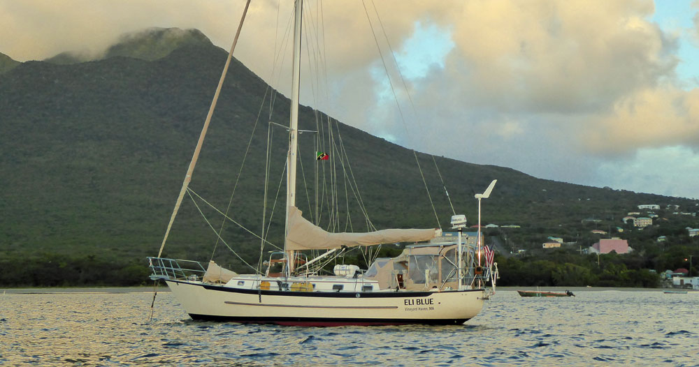 A Crealock 40 cruising sailboat at anchor off Nevis in the West Indies