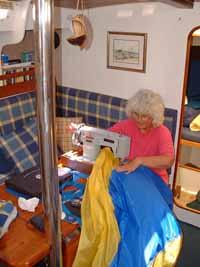 using a sewing machine aboard a sailboat