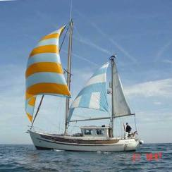 A Fisher 34 ketch rigged motor-sailor