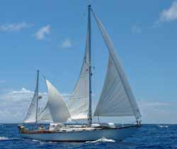 Hinkley 42 sailboat under full sail in the Caribbean