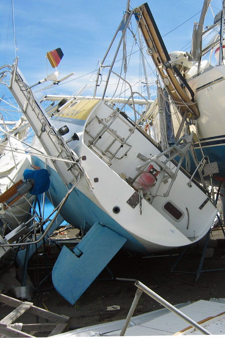 Hurricane Ivan damage to yachts in Spice Island Marine, Grenada, West Indies