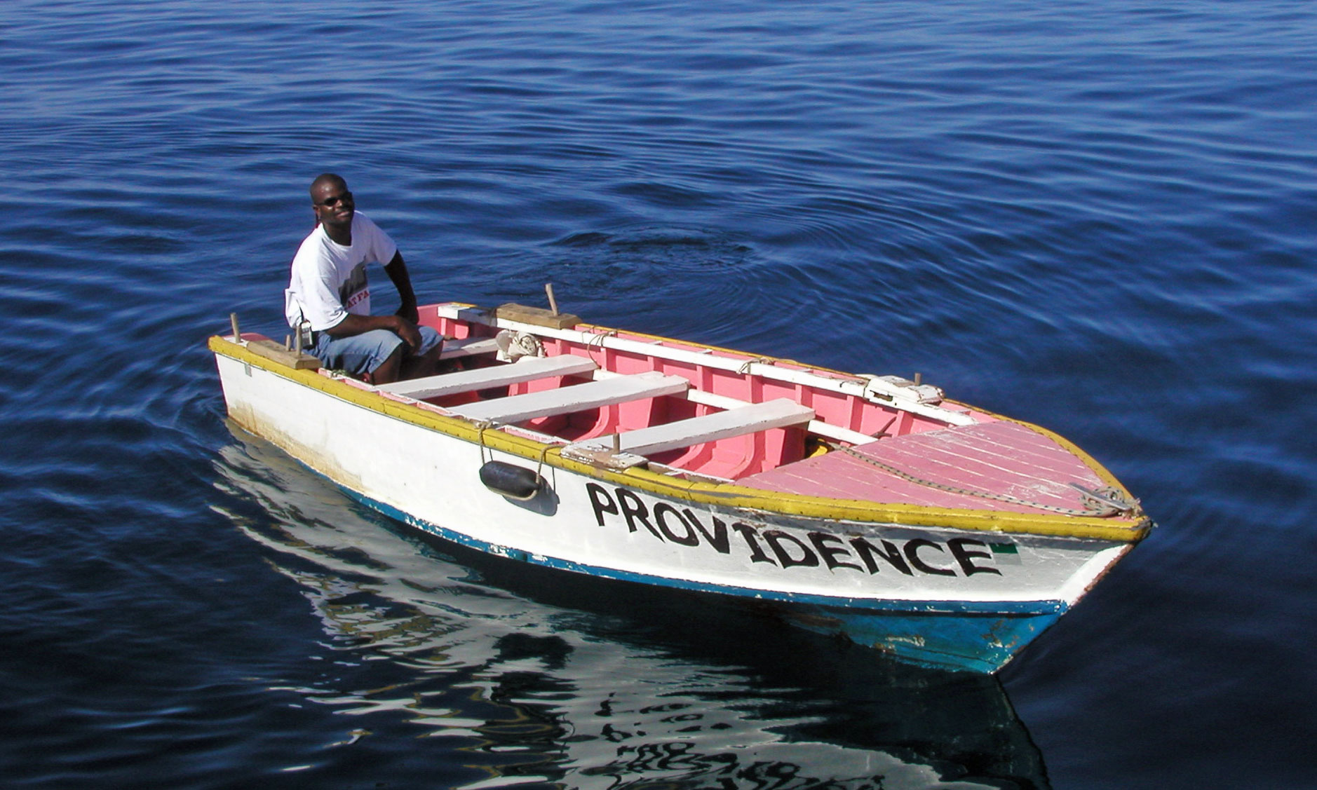 Martin Carriere and his boat 'Providence'