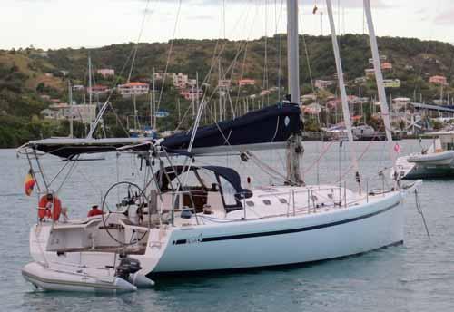 A light displacement Reva 42 wood epoxy sailboat