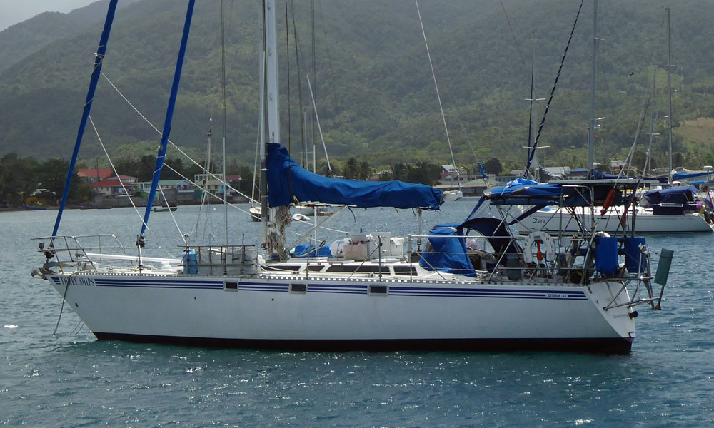 A Gitana 43 at anchor in the tropics