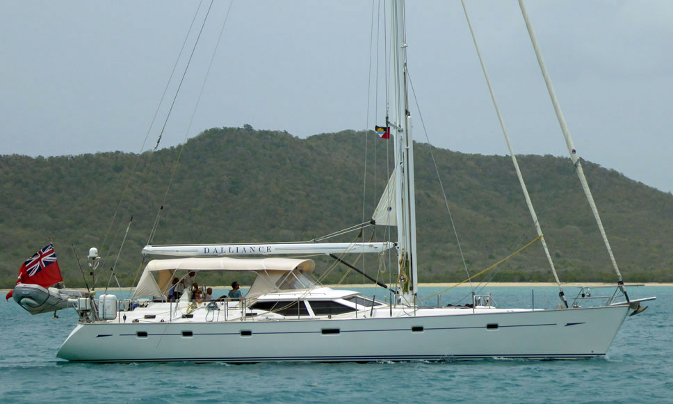 An Oyster 62 luxury sailboat