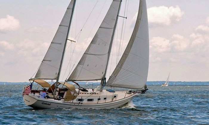 <i>'Gabriel'</i>, an aft-cockpit ketch-rigged version of the Allied Princess 36 cruising yacht.