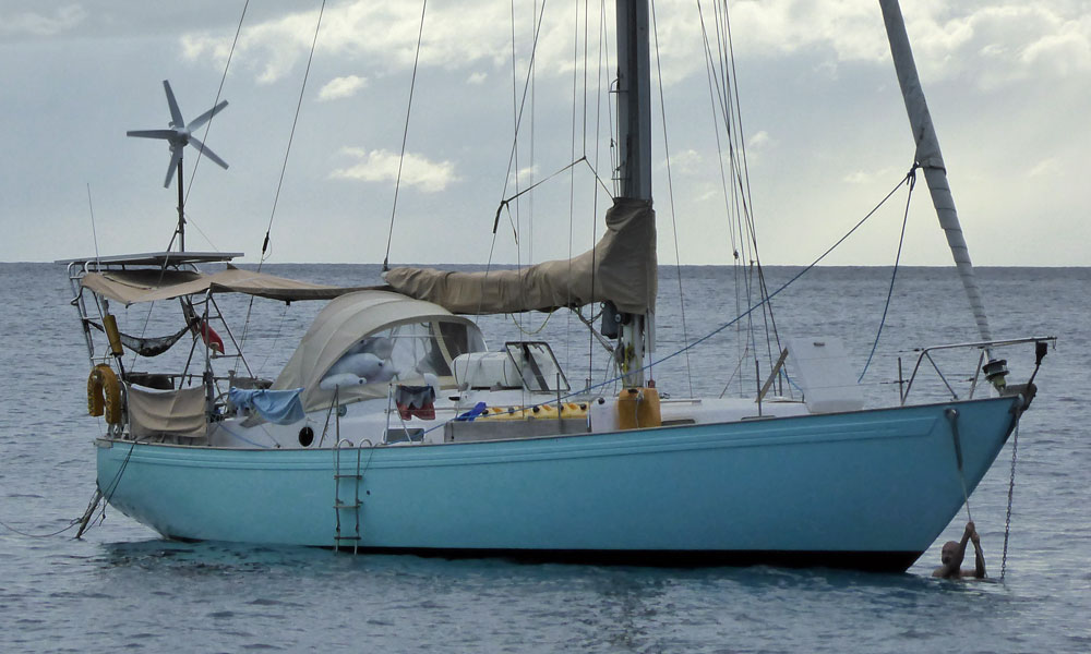 A Peter Brett designed Rival 38 cruising sailboat