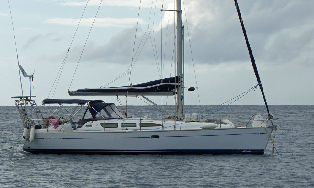 A Jeanneau Sun Odyssey cruising yacht at anchor