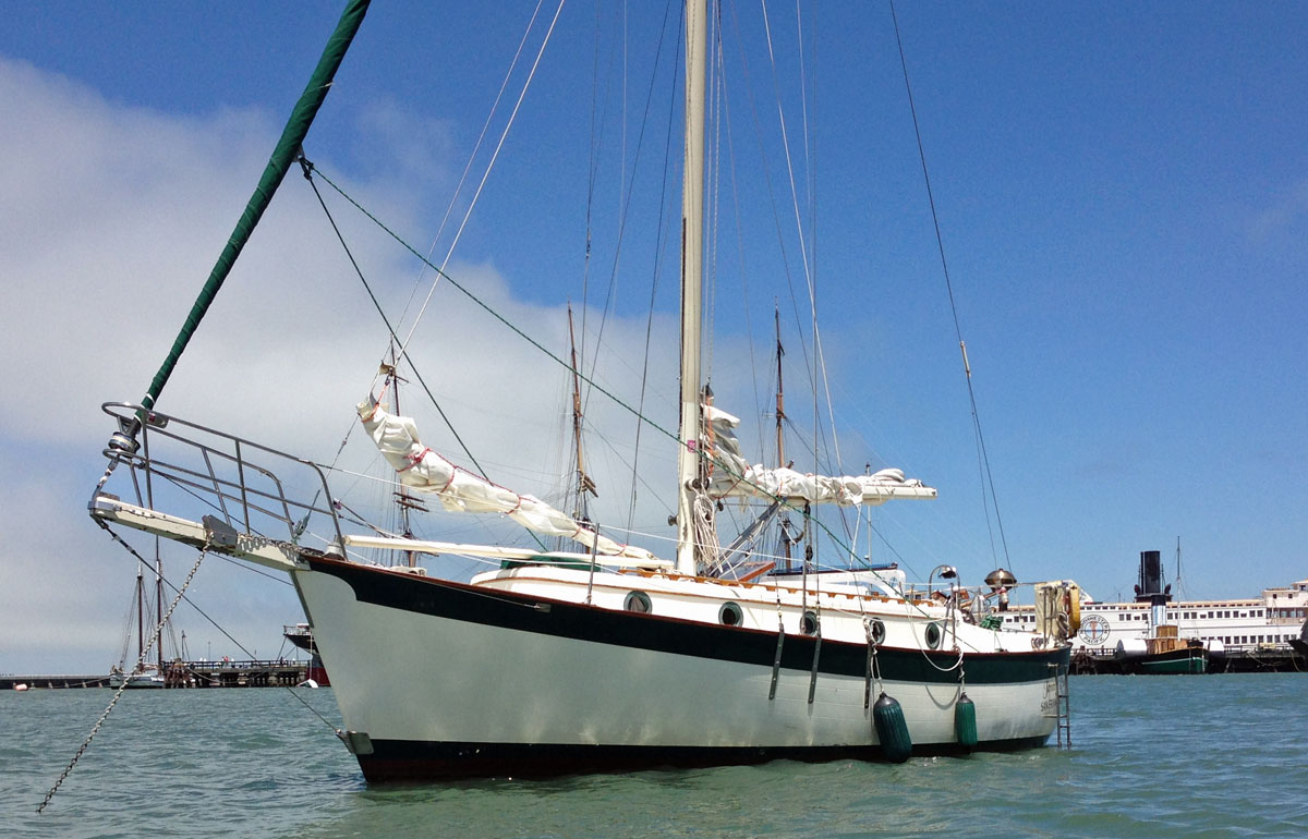 A Willard 30/8t cruising yacht at anchor