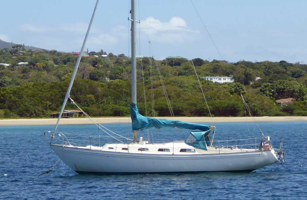 A Rival 34 sailboat from the 1970s