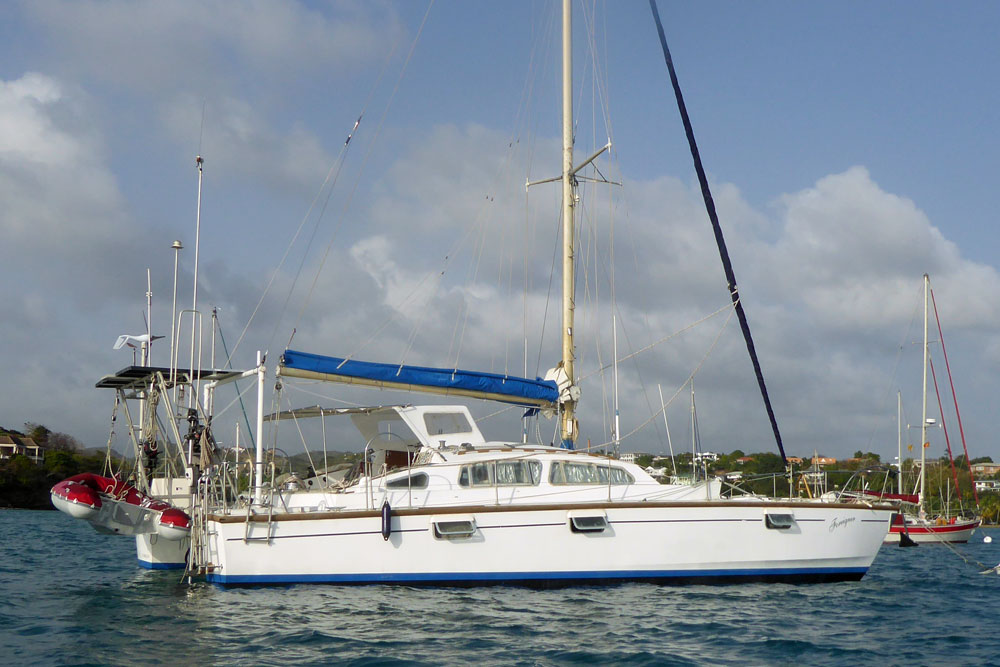 An Apache 41 catamaran anchored on Prickly Bay, Grenada, West Indies