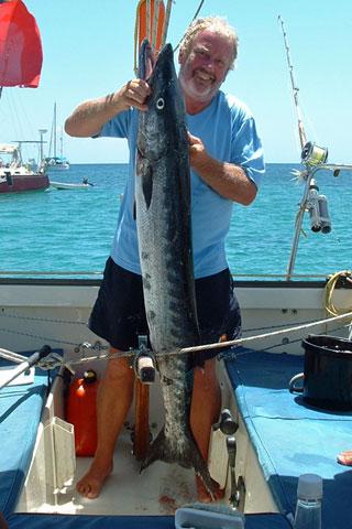 55lb Barracuda caught from sailboat 'Alacazam'.