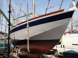 A petrel 32 steel cruising sailboat.