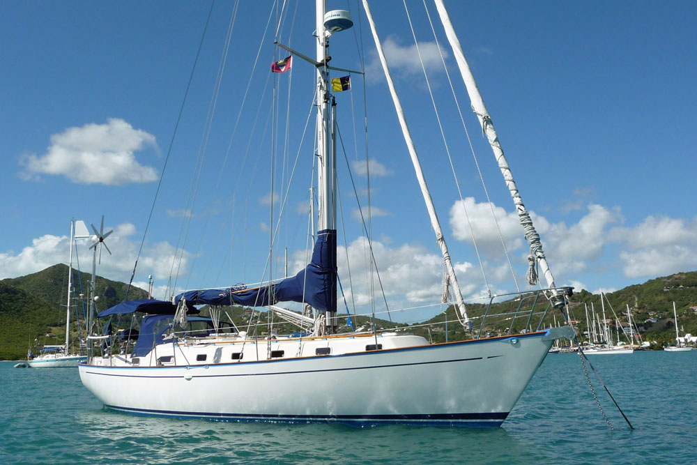 The Bowman 40 at anchor off Bequia