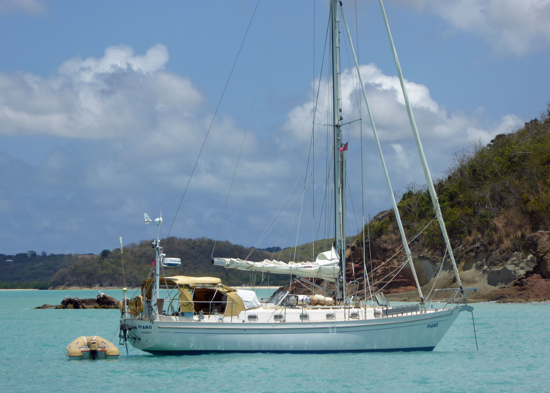 A cutter rigged sailboat