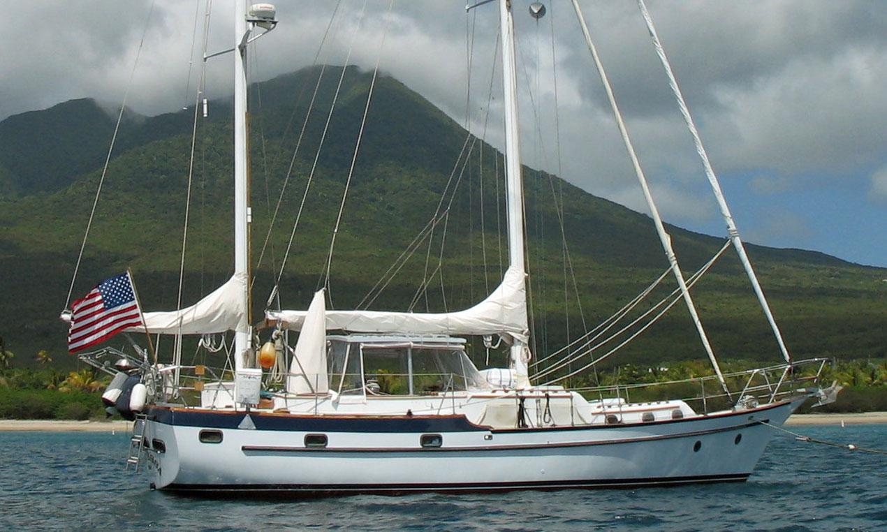 A CSY 44 cutter rigged ketch at anchor off Nevis in the West Indies