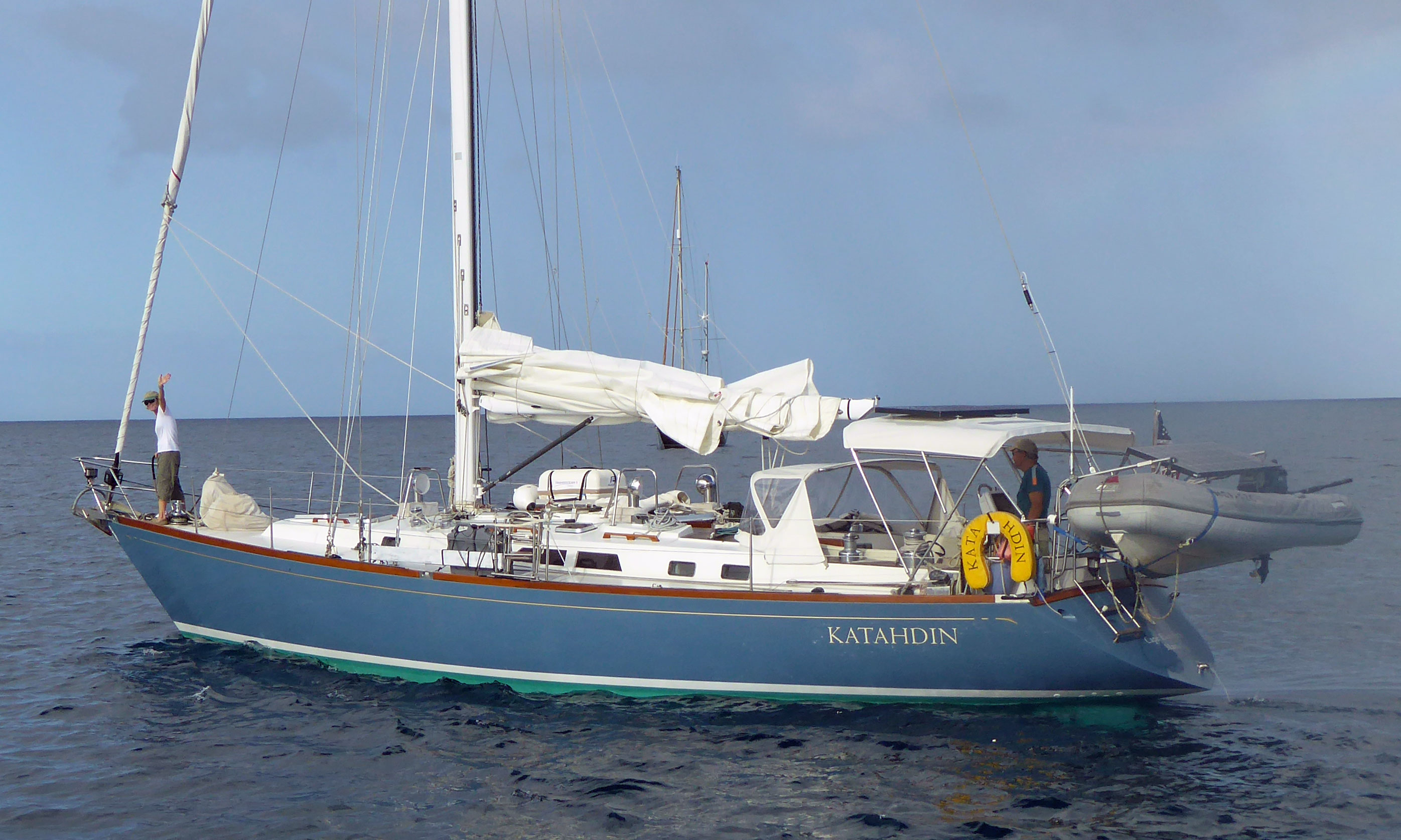A Cambria 44 sailboat leaves Dominica and heads for Marie Galante in the West Indies