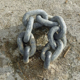 A chain loop ground anchor