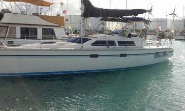 A Hunter 42 cruising sailboat