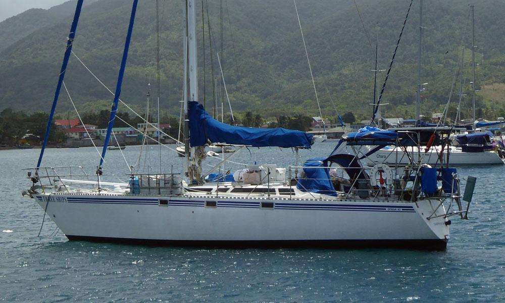 A Gitana 43 at anchor in the tropics