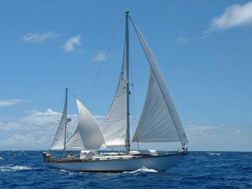 A Hinckley 42 yawl cruiser yacht