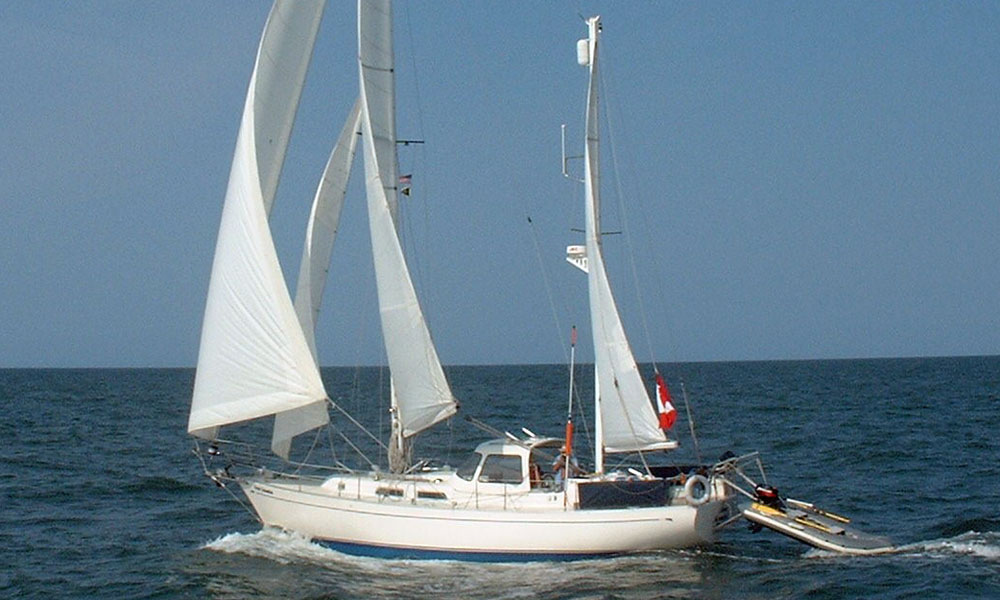A Hughes 40 staysail ketch sailboat for sale