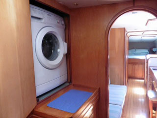 Built-in Washing Machine on a catamaran