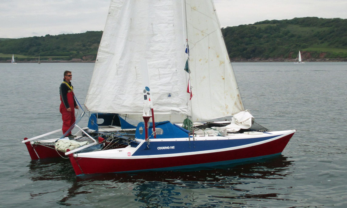 Designed by James Wharram this is 'Cooking Fat', a Hina 22 catamaran