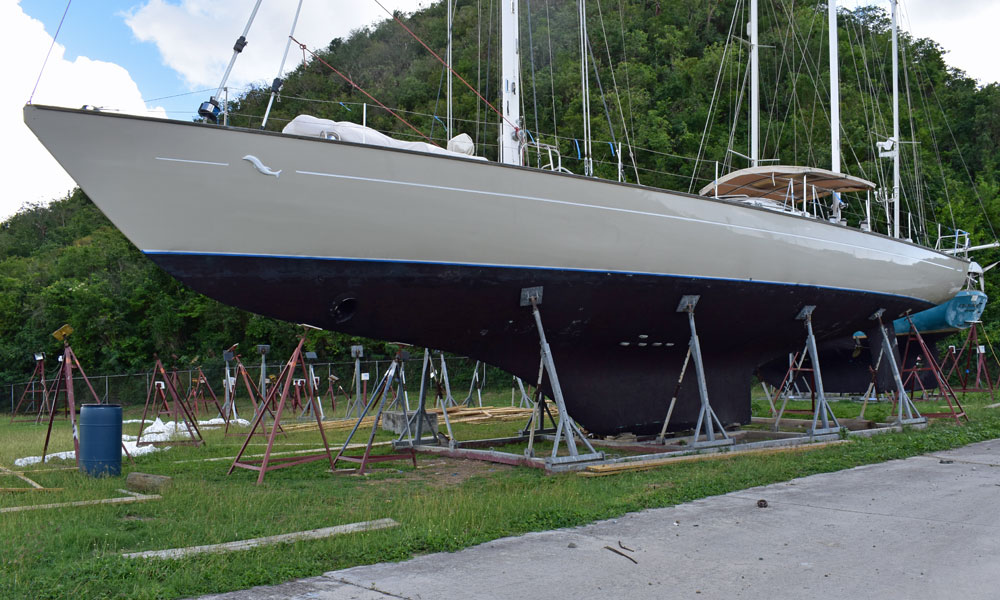 A 71 foot yacht stored in a boat cradle