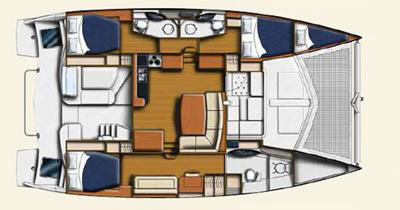 A Leopard 44 catamaran interior layout