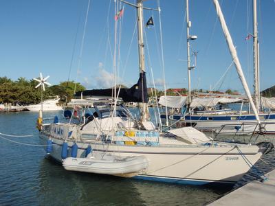 A Moody 376 cruising sailboat