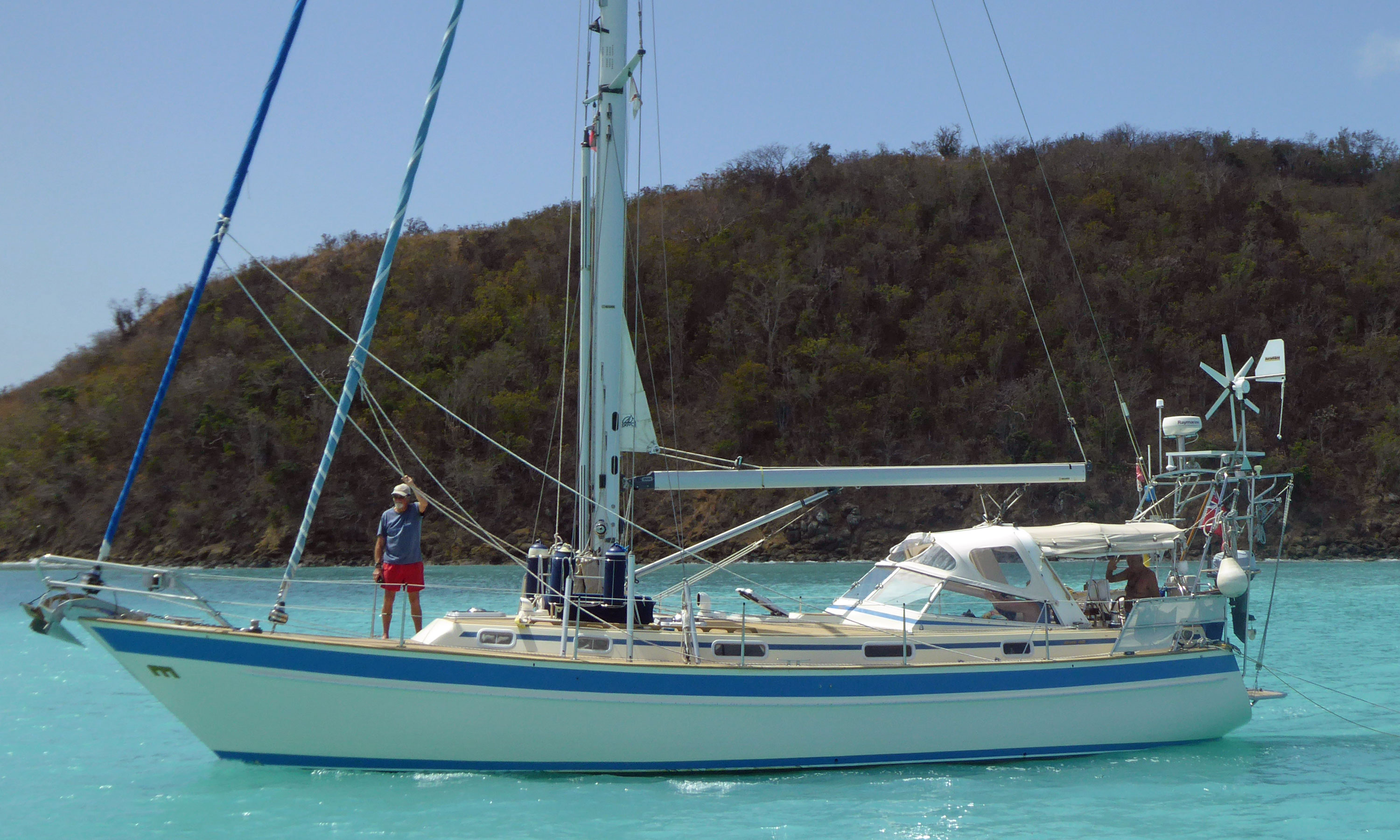 A Malo 42 cutter-rigged sailboat