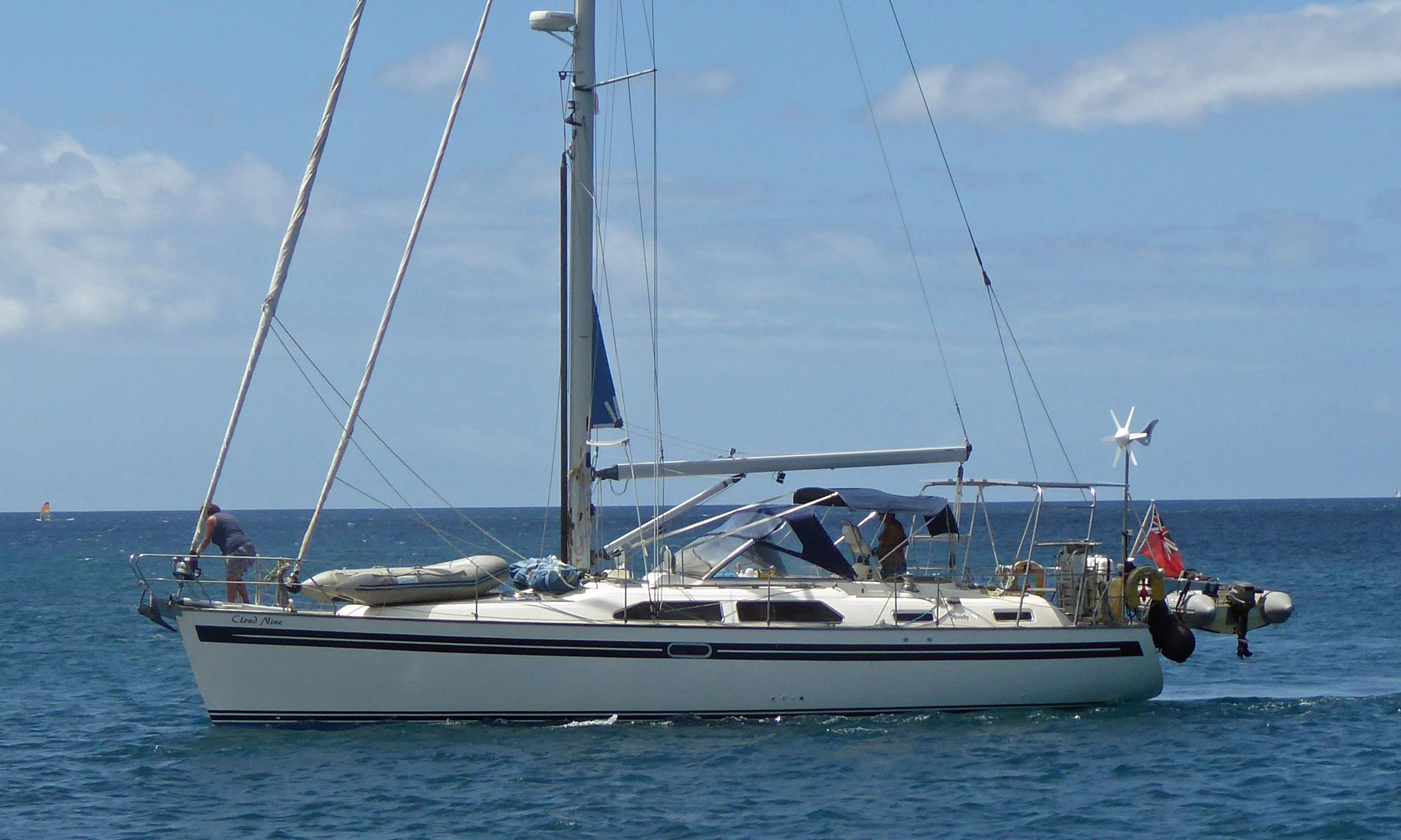 A Moody 46 cruising sailboat