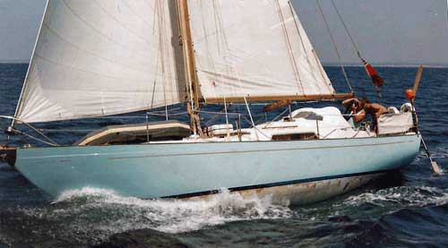 A Nicholson 32 Mark 10 heavy displacement, long keeled cruising sailboat