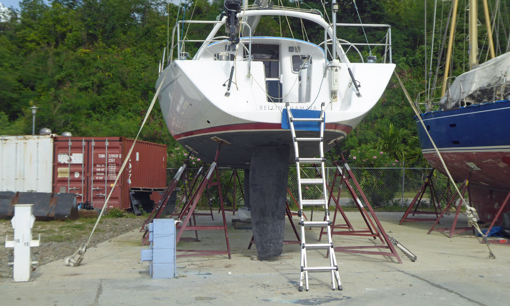 A boat laid-up ashore in preparation for the coming hurricane season