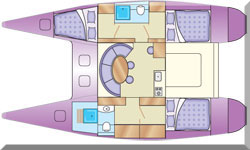 Sketch showing typical accommodation layout in a cruising monohull