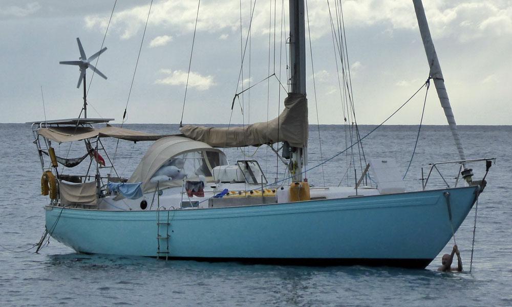 A Peter Brett designed Rival 38 cruising sailboat