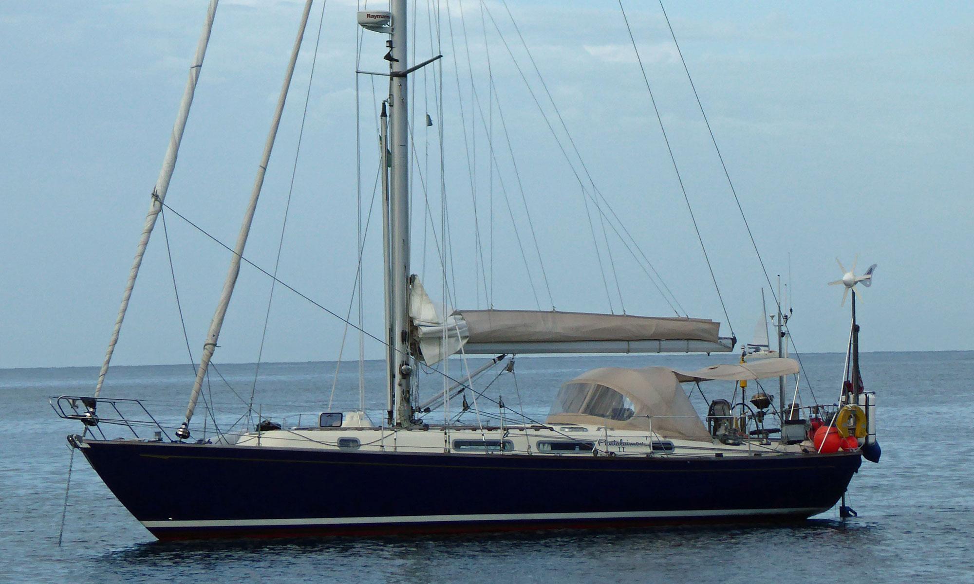 A Rustler 42 sailboat at anchor