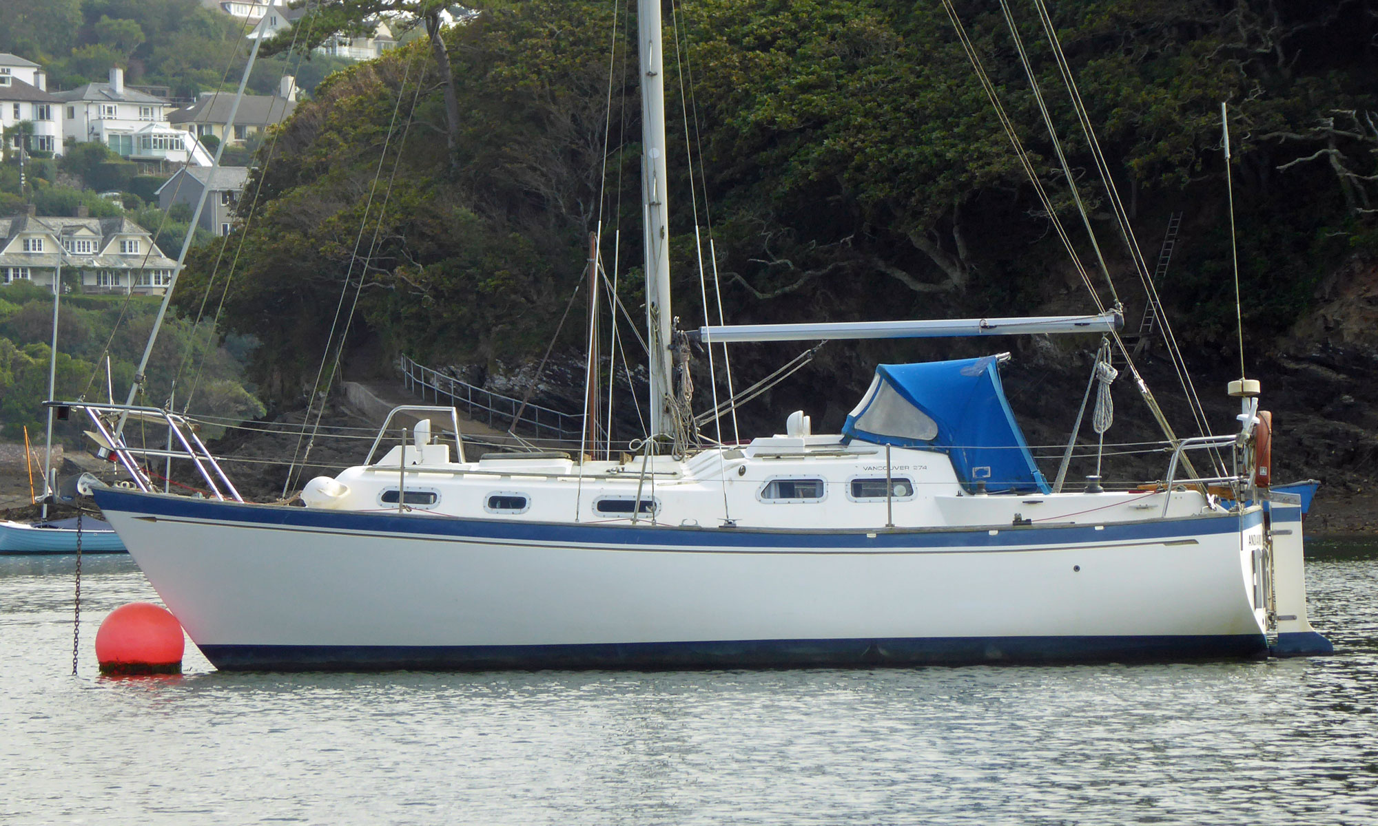 A Vancouver 274 moored on the River Yealm at Newton Ferrers in Devon, UK