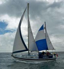 A Westerly 33 ketch with mizzen staysail set