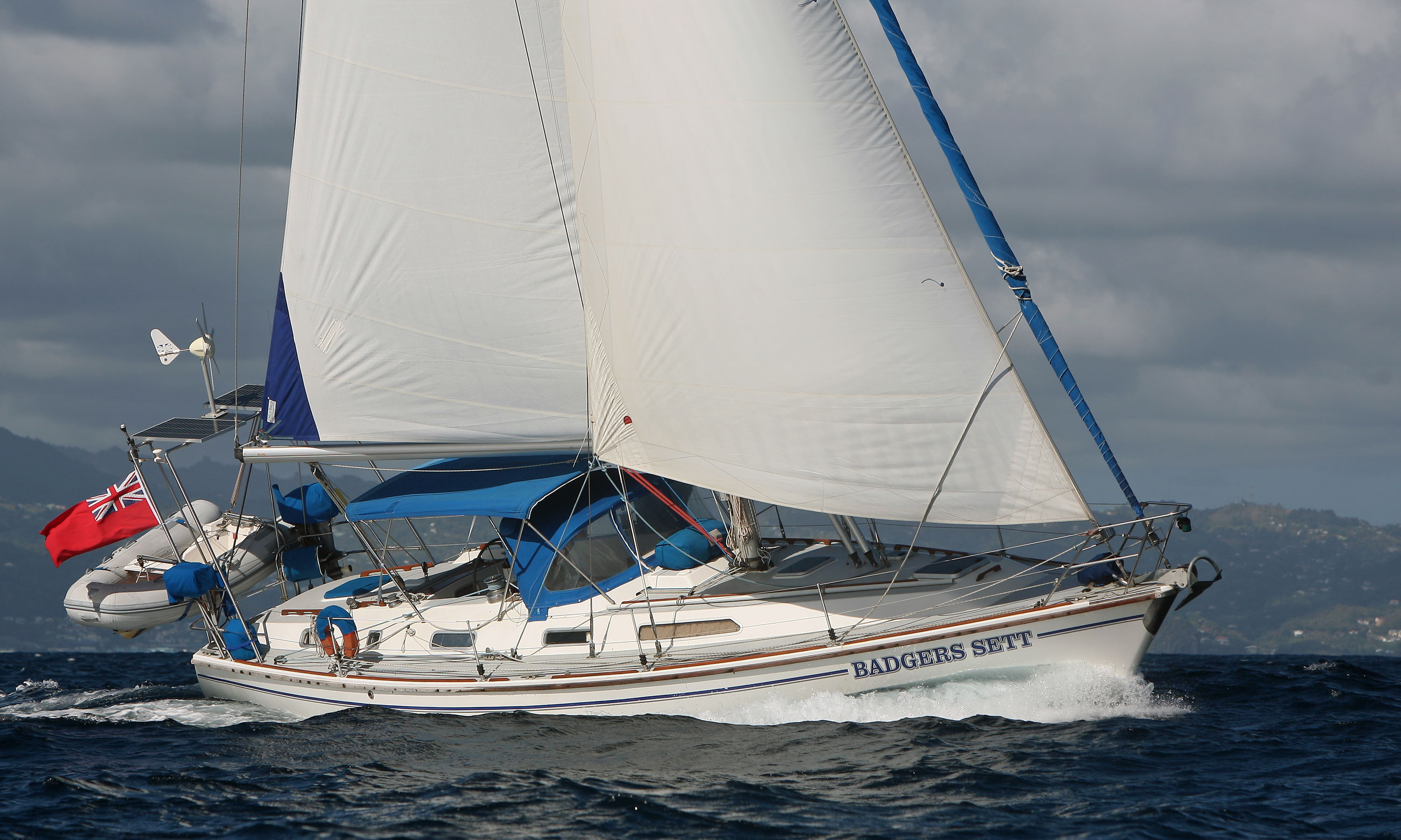 A Westerly Oceanlord 40 moderate displacement sailboat (Displacement/Length Ratio = 213)