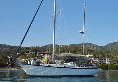 A Whitby 42 long-distance, heavy-displacement cruising boat