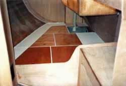 a double quarter berth arrangement on a self build boat