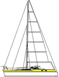 Designers sketch of Alacazam, a light displacement cutter rigged sloop sailboat
