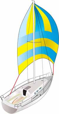 asymmetric spinnaker rigged