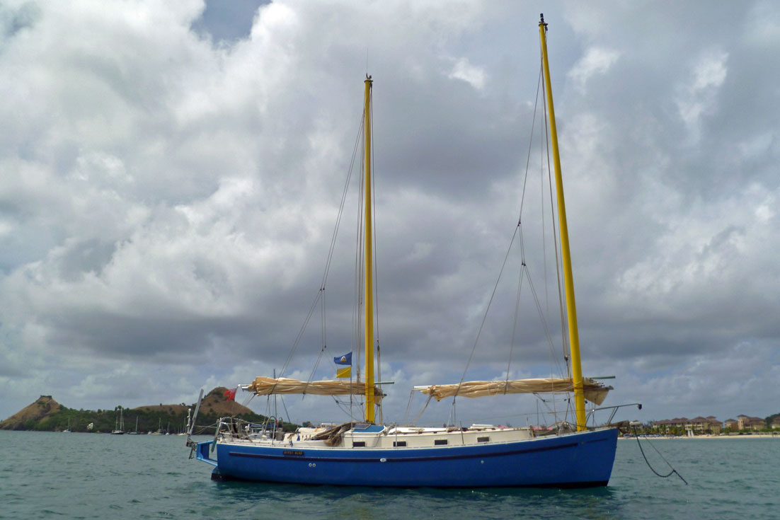 A Freedom 35 Cat-Ketch sailboat