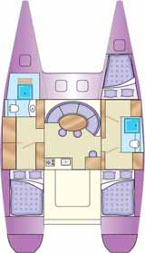 interior layout of cruising charter catamaran
