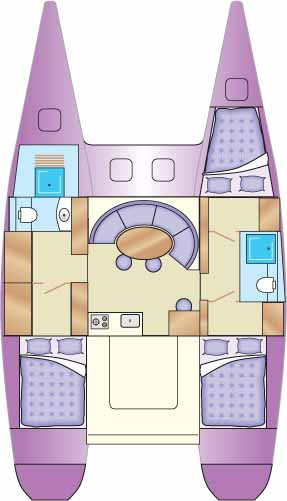 Accommodation plan for a catamaran.