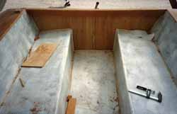 grp cockpit fitted into wood-epoxy cedar strip sailboat hull