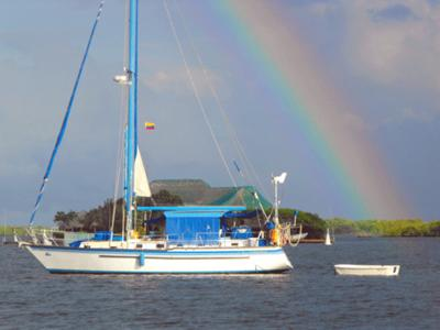 At anchor under the rainbow
